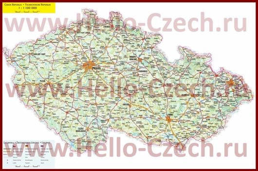 Автомобильная карта дорог Чехии