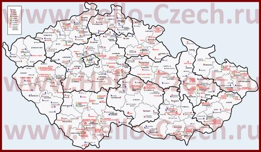 Достопримечательности и замки на карте Чехии