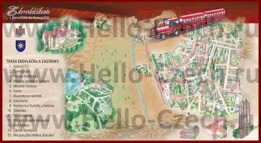 Туристическая карта Бенешова с достопримечательностями