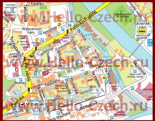 Туристическая карта центра Бероуна с отелями и достопримечательностями