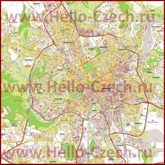 Подробная карта города Брно с улицами