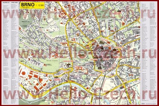 Туристическая карта Брно с отелями и достопримечательностями