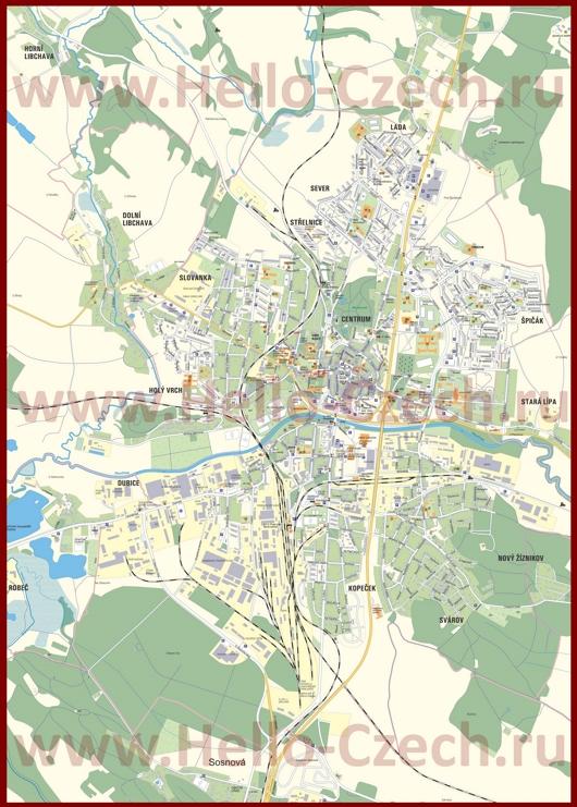Туристическая карта Ческа-Липы с достопримечательностями