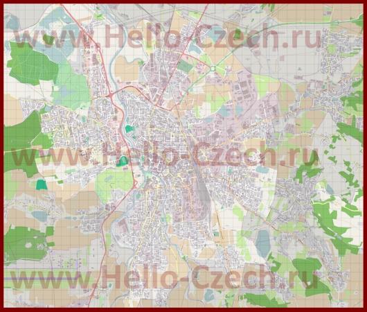 Подробная карта города Ческе-Будеёвице