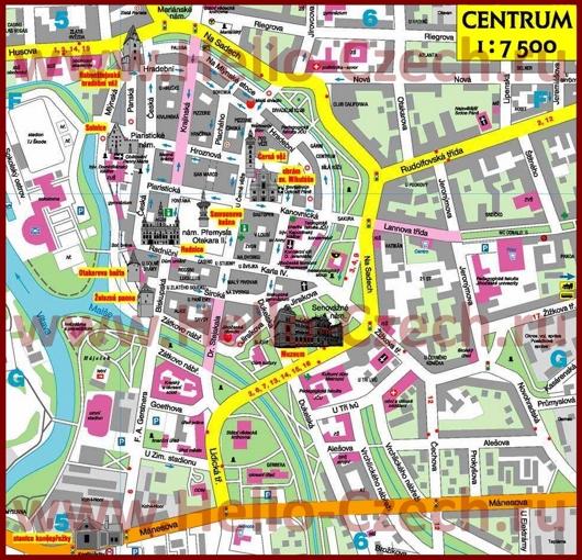 Туристическая карта центра Ческе-Будеёвице с достопримечательностями