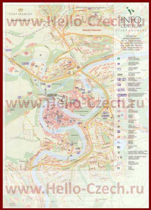 Подробная карта города Чески-Крумлов