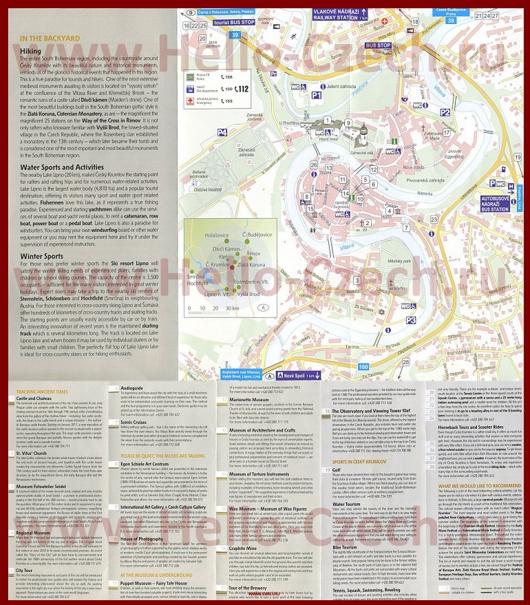 Туристическая карта Чески-Крумлова с достопримечательностями