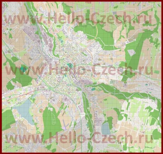 Подробная карта города Фридек-Мистек
