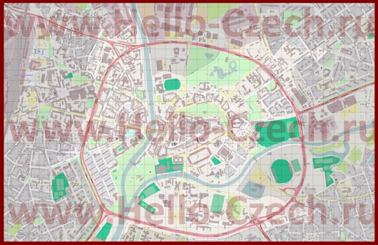 Подробная карта города Градец-Кралове