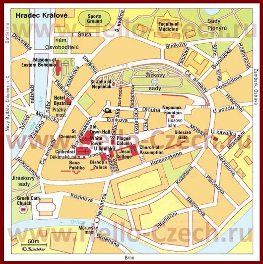 Туристическая карта Градец-Кралове с достопримечательностями