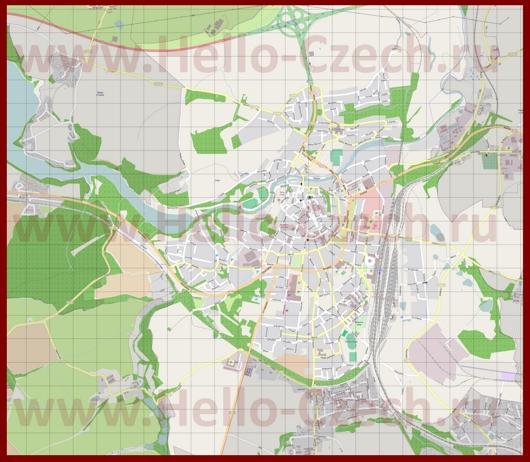 Подробная карта города Хеб