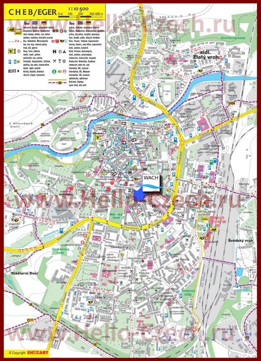 Туристическая карта Хеба с отелями и достопримечательностями