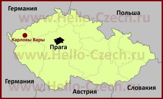 Карловы Вары на карте Чехии