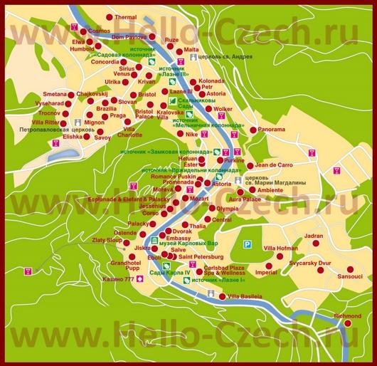 Карта Карловых Вар с отелями