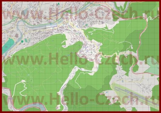 Подробная карта города Карловы Вары с улицами
