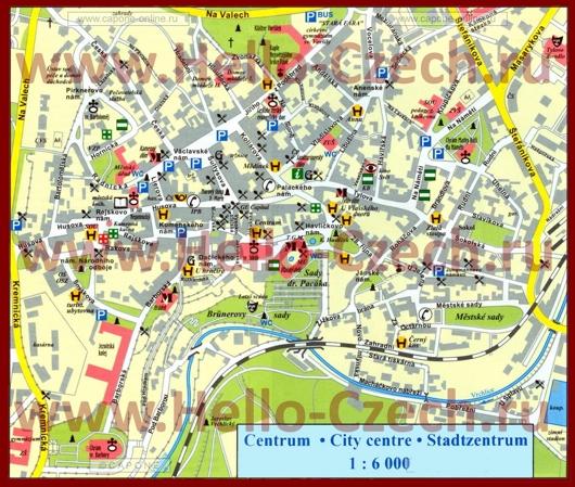 Туристическая карта центра Карловых Вар