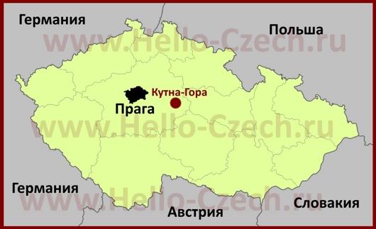 Кутна-Гора на карте Чехии