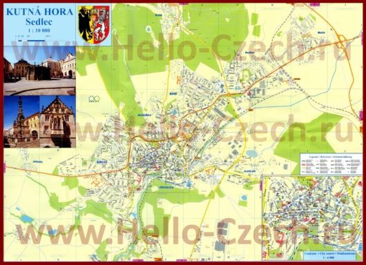 Подробная туристическая карта города Кутна-Гора с отелями и достопримечательностями