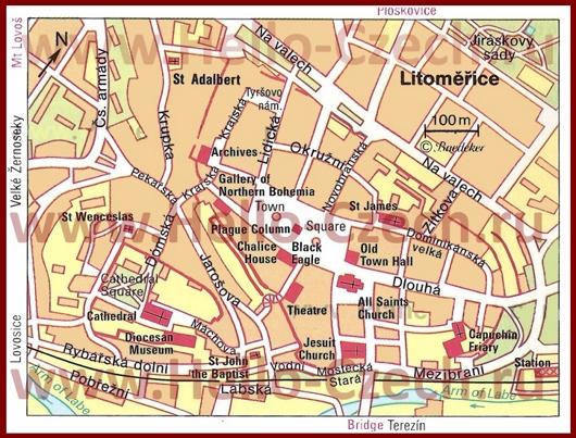 Туристическая карта Литомержице с достопримечательностями