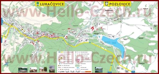 Туристическая карта Лугачовице с отелями и достопримечательностями