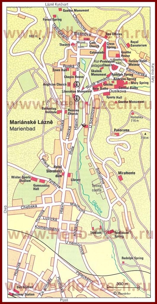 Карта Марианских-Лазне с достопримечательностями
