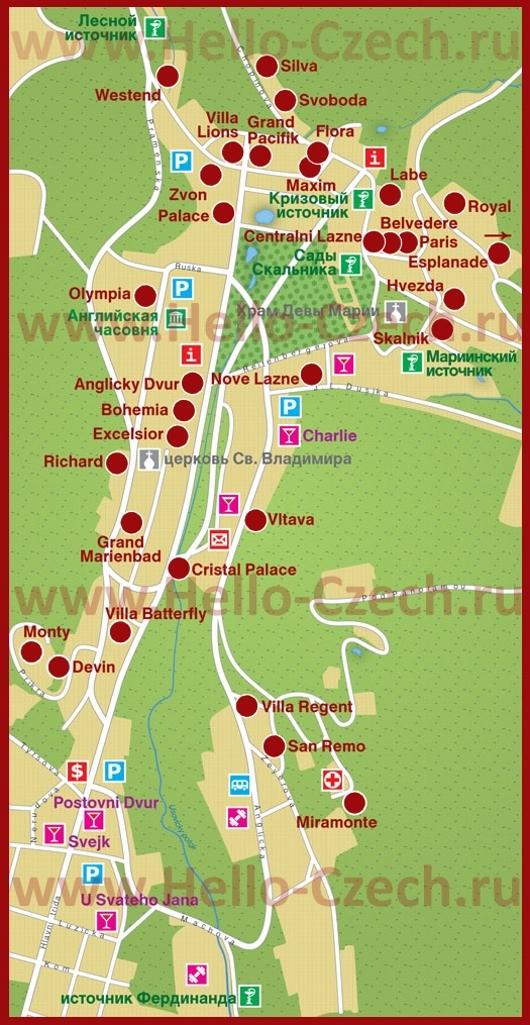Карта отелей Марианских-Лазне