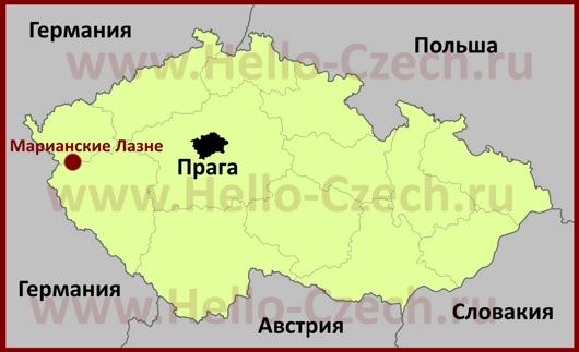 Марианские-Лазне на карте Чехии