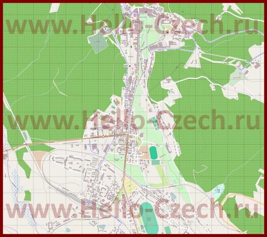 Подробная карта города Марианские-Лазне