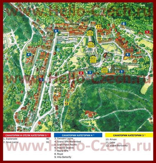 Туристическая карта Марианских-Лазне с санаториями