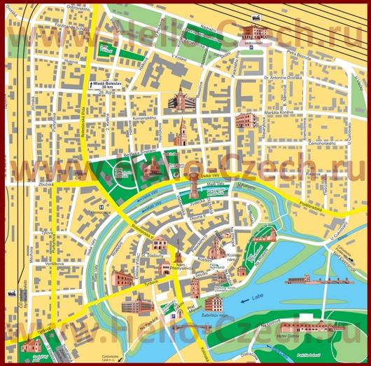 Туристическая карта Нимбурка с достопримечательностями