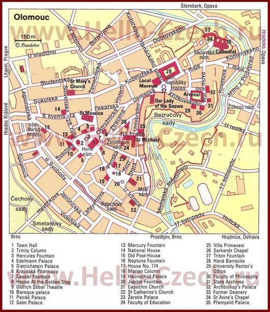 Карта Оломоуца с достопримечательностями