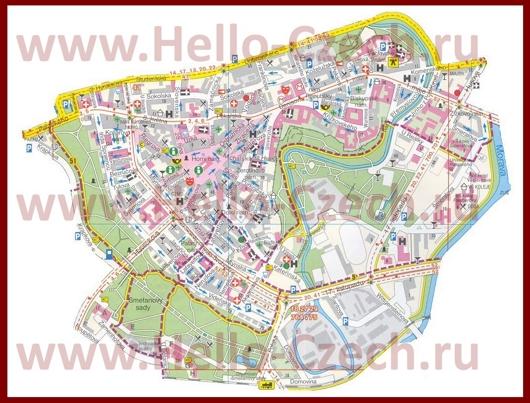 Туристическая карта Оломоуца с отелями