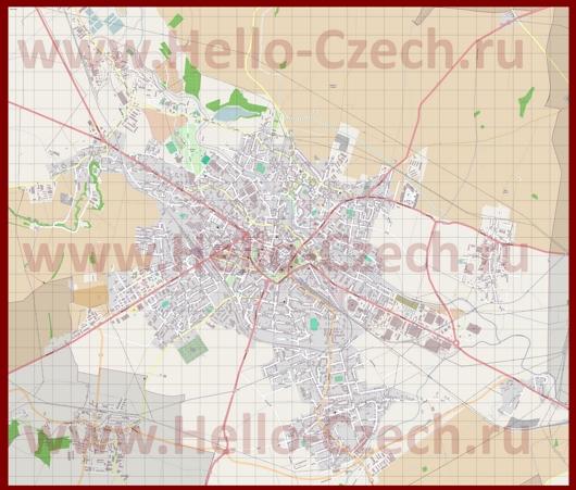 Подробная карта города Опава