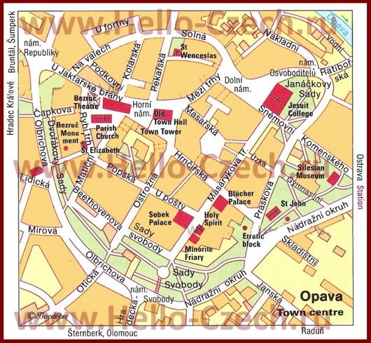 Туристическая карта Опавы с достопримечательностями