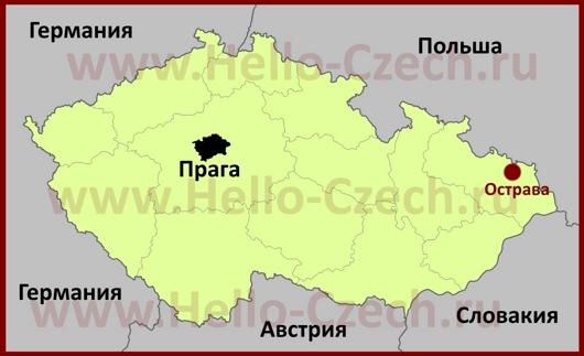 Острава на карте Чехии