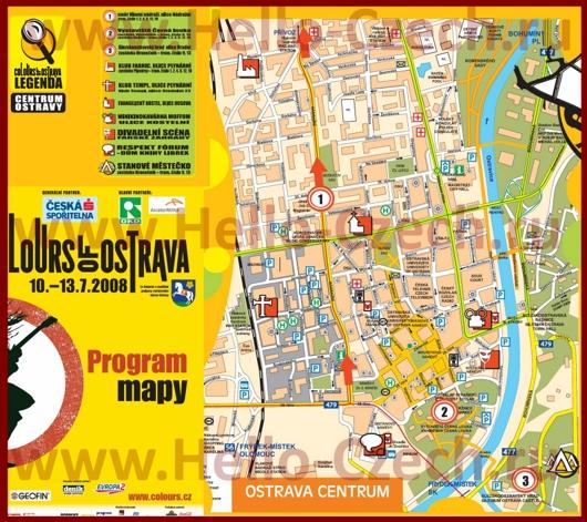 Туристическая карта Остравы с отелями