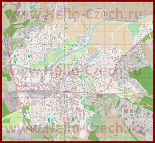 Подробная карта города Пардубице