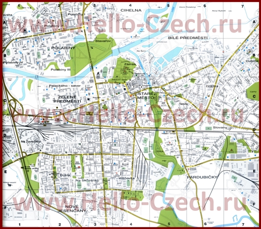 Туристическая карта Пардубице с отелями и достопримечательностями