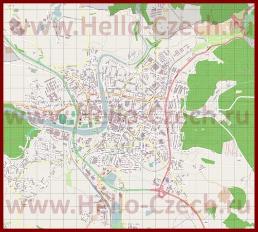 Подробная карта города Писек