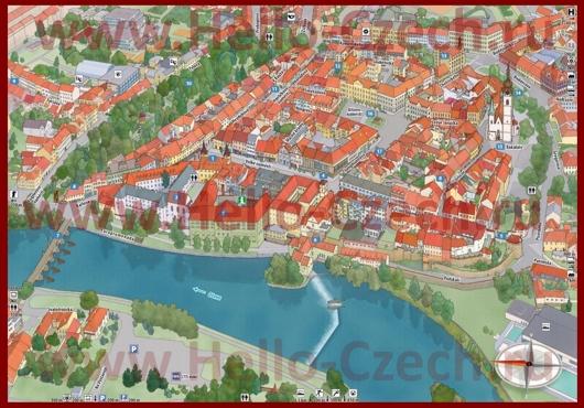 Туристическая карта центра Писека с достопримечательностями