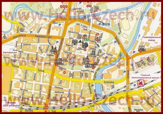 Туристическая карта центра Пльзеня с достопримечательностями