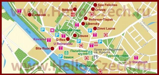 Карта отелей Подебрадов