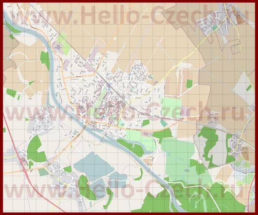Подробная карта города Подебрады