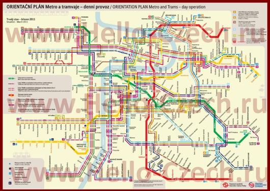 Карта метро и трамваев Праги