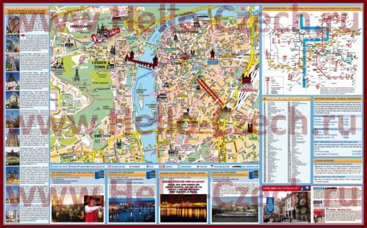 Подробная туристическая карта Праги с отелями и достопримечательностями