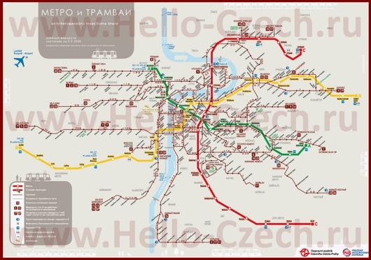 Транспортная карта Праги с метро и трамваями на русском языке