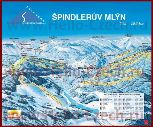 Карта склонов горнолыжного курорта Шпиндлерув-Млин с трассами