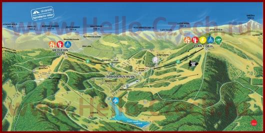 Подробная туристическая карта Шпиндлерув-Млина