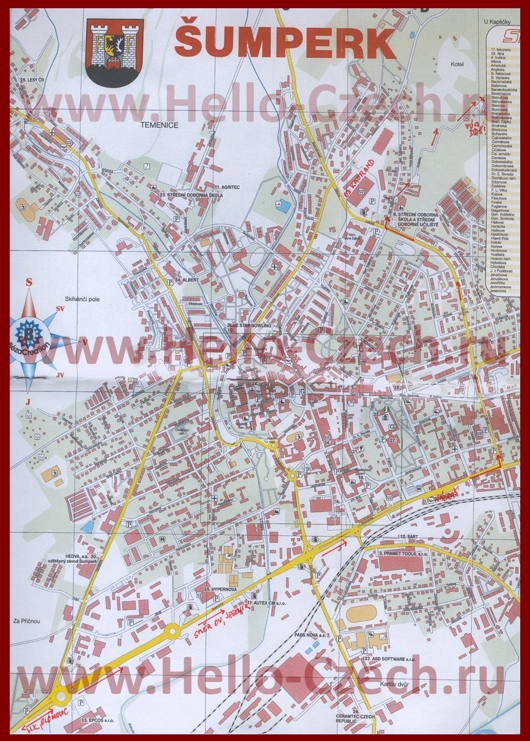 Туристическая карта Шумперка