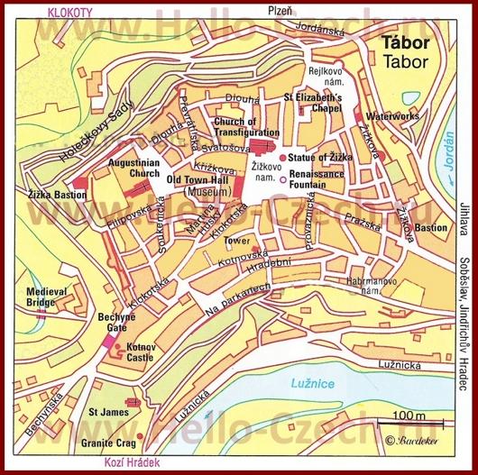 Туристическая карта Табора с достопримечательностями